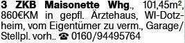 3-Zimmer Mietwohnung in Wiesbaden-Dotzheim (65199)