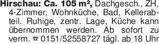 Hirschau: Ca. 105 m², Dachgesc...