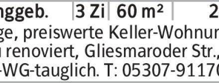 Urige, preiswerte Keller-Wohnung, neu renoviert, Gliesmaroder Str., 2er-WG-tauglich....