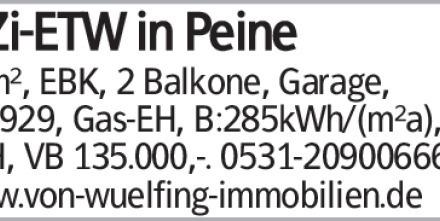 4-Zi-ETW in Peine 96m², EBK, 2 Balkone, Garage, Bj.1929, Gas-EH, B:285kWh/(m²a),...