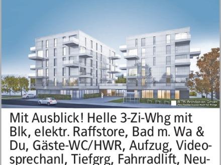 Mit Ausblick! Helle 3-Zi-Whg mit Blk, elektr. Raffstore, Bad m. Wa & Du,...