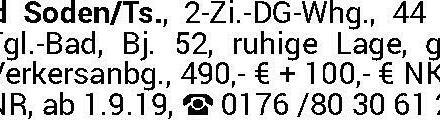 Bad Soden/Ts., 2-Zi.-DG-W