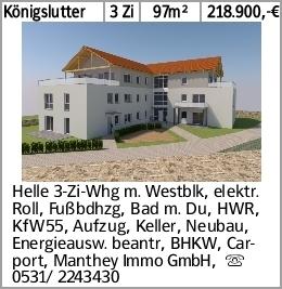 Königslutter 3 Zi 97m² 218.900,-€ Helle 3-Zi-Whg m. Westblk, elektr. Roll,...
