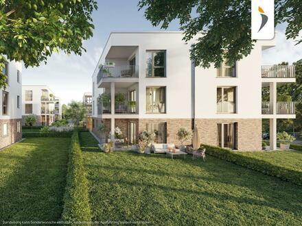 Sonnige 2-Zimmer-Gartenwohnung in elegantem Neubauensemble am Schlosspark, nahe Rheinufer