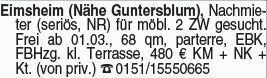 Mietwohnung in Eimsheim (55278)