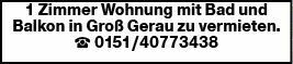 1-Zimmer Mietwohnung in Groß Gerau (64521)