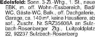 Edelsfeld: Sonn. 3-Zi.-Whg., 1...