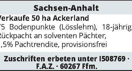 Sachsen-Anhalt - Verkaufe 50 ha Ackerland