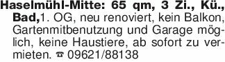Haselmühl-Mitte: 65 qm, 3 Zi.,...