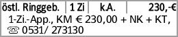 östl. Ringgeb. 1 Zi k.A. 230,-€ 1-Zi.-App., KM € 230,00 + NK + KT, s 0531/...