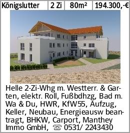 Königslutter 2 Zi 80m² 194.300,-€ Helle 2-Zi-Whg m. Westterr. & Garten,...
