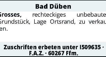 Bad Düben – Grosses, rechteckiges unbebautes Grundstück