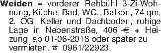 Weiden - vorderer Rehbühl 3-Zi...