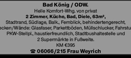 2-Zimmer Mietwohnung in Bad König (64732)