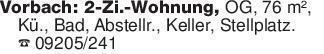 Vorbach: 2-Zi.-Wohnung, OG, 76...