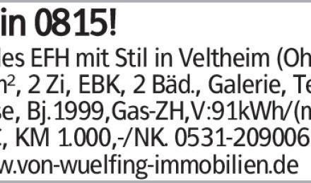Kein 0815! Helles EFH mit Stil in Veltheim (Ohe), 98m², 2 Zi, EBK, 2 Bäd.,...