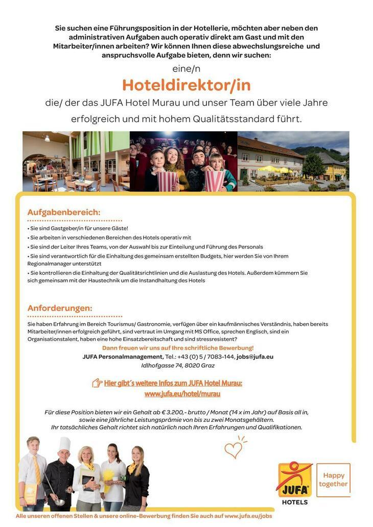 ➤ Jetzt bewerben und die berufliche Zukunft gestalten bei JUFA Hotels, mit über 55 Hotels ein Top Arbeitgeber in Europa! Professionelle Teams✓ Prämien✓ Karrierechancen✓ Offenheit✓ Mehr erfahren ◕‿◕