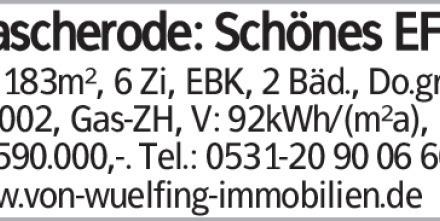 Mascherode: Schönes EFH mit 183m², 6 Zi, EBK, 2 Bäd., Do.grg., Bj.2002,...