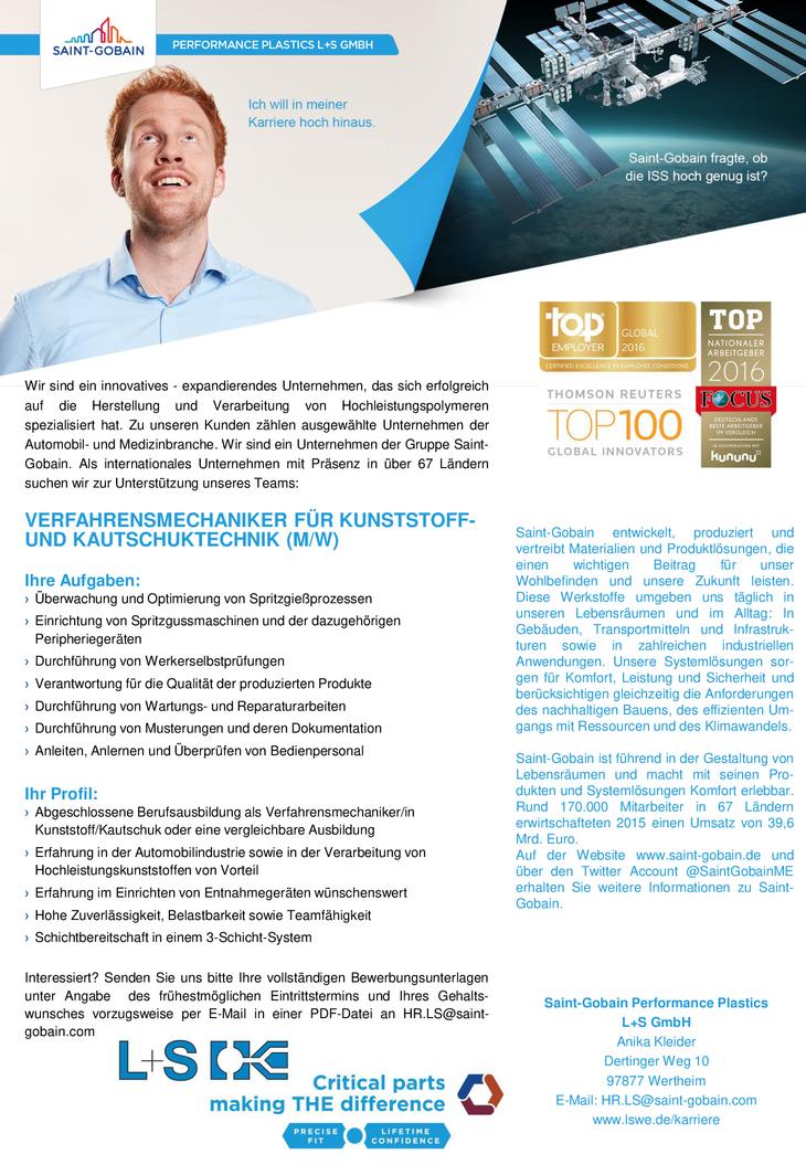 Als internationales Unternehmen mit Präsenz in über 67 Ländern suchen wir zur Unterstützung unseres Teams in Wertheim: VERFAHRENSMECHANIKER FÜR KUNSTSTOFF- UND KAUTSCHUKTECHNIK (M/W)