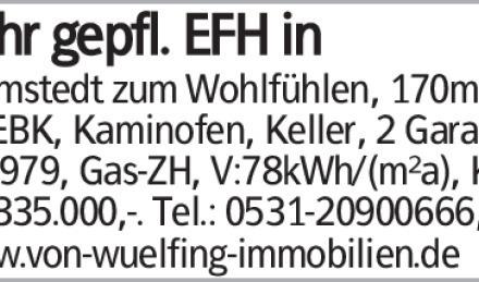 Sehr gepfl. EFH in Helmstedt zum Wohlfühlen, 170m², 4 Zi, EBK, Kaminofen,...