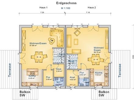 Neubau: DHH rechts f. 475.000,- € inkl. Grundstück in Halbhöhenlage!