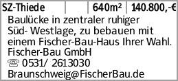 SZ-Thiede 640m² 140.800,-€ Baulücke in zentraler ruhiger Süd- Westlage,...