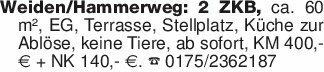 Weiden/Hammerweg: 2 ZKB, ca. 6...