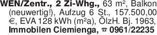 WEN/Zentr., 2 Zi-Whg., 63 m²,...