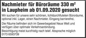 Büroräume ca. 330 m² in Laupheim ab 01.09. zu vermieten!