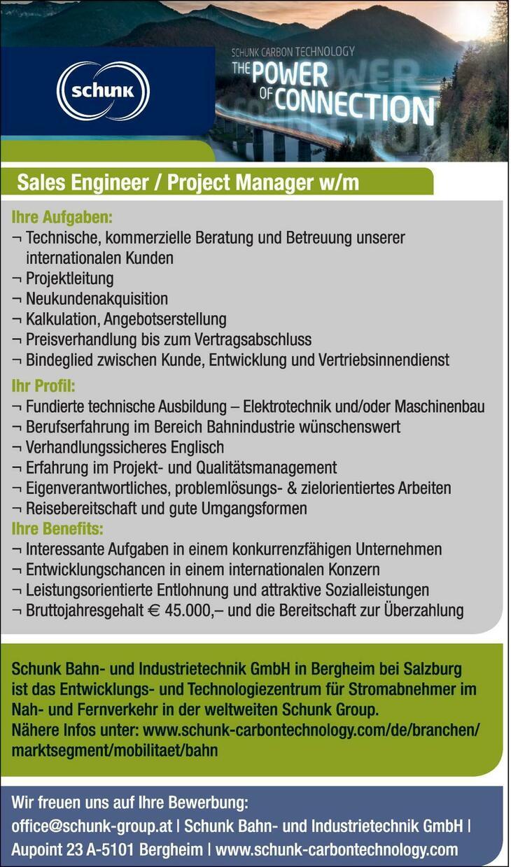 Schunk Bahn- und Industrietechnik GmbH in Bergheim bei Salzburg ist ein Tochterunternehmen der international agierenden Schunk Group mit mehr als 8200 Mitarbeitern. Unser Betrieb bildet das