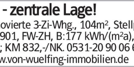 BS - zentrale Lage! Renovierte 3-Zi-Whg., 104m², Stellpl., Bj.1901, FW-ZH,...