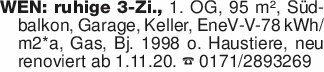 WEN: ruhige 3-Zi., 1. OG, 95 m...