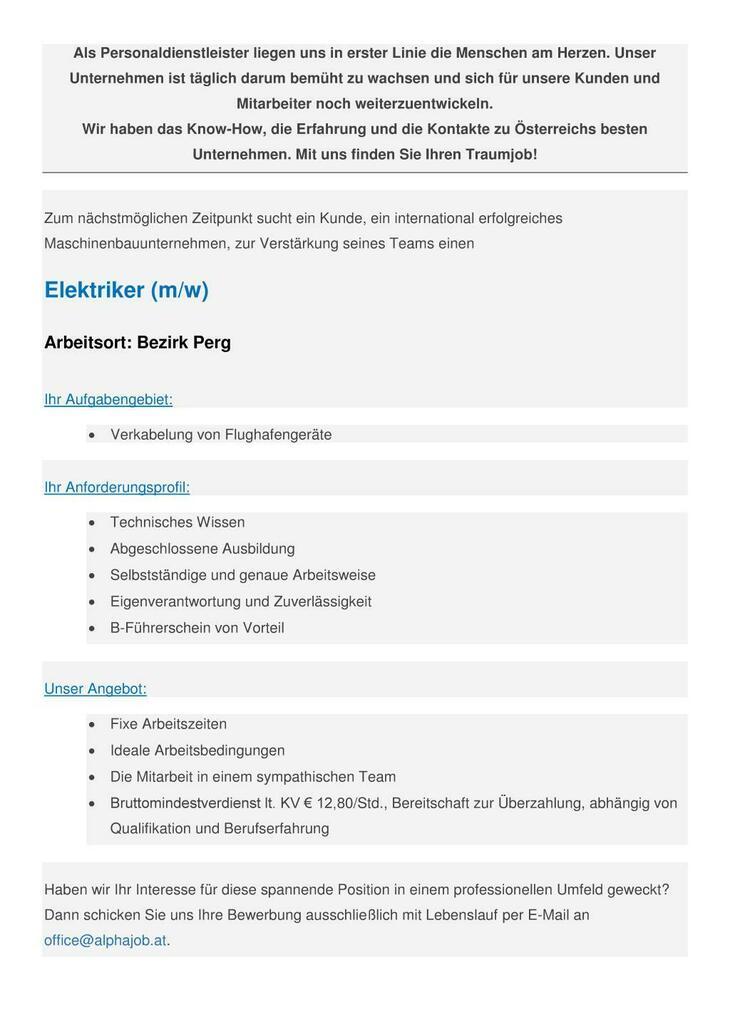 Elektriker (m/w) Bezirk Perg