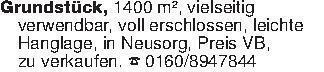 Grundstück, 1400 m², vielseiti...
