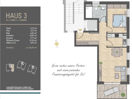 Einziehen und Wohlfühlen! 2 Zi.-Whg. mit großem Wohnzimmer und sonnigem Balkon im 2. OG, H3/W6