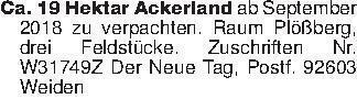 Ca. 19 Hektar Ackerland ab Sep...