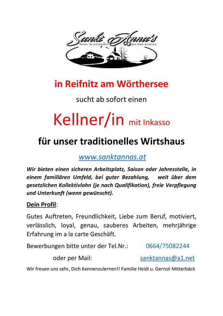 Sankt Anna's in Reifnitz am Wörthersee sucht ab sofort einen Kellner/in mit Inkasso