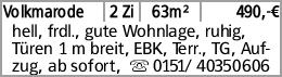 Volkmarode 2 Zi 63m² 490,-€ hell, frdl., gute Wohnlage, ruhig, Türen 1...