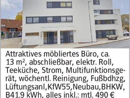 Attraktives möbliertes Büro, ca. 13 m², abschließbar, elektr. Roll, Teeküche,...