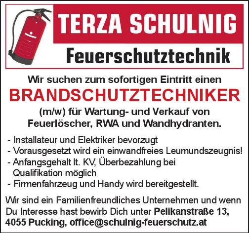 Wir suchen zum sofortigen Eintritt einen BRANDSCHUTZTECHNIKER (m/w) für Wartung- und Verkauf von Feuerlöscher, RWA und Wandhydranten.