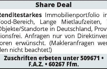 Share Deal Renditestarkes Immobilienportfolio