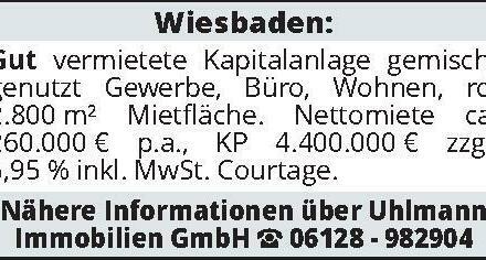 Wiesbaden: Gut vermietete