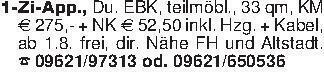 1-Zi-App., Du. EBK, teilmöbl.,...