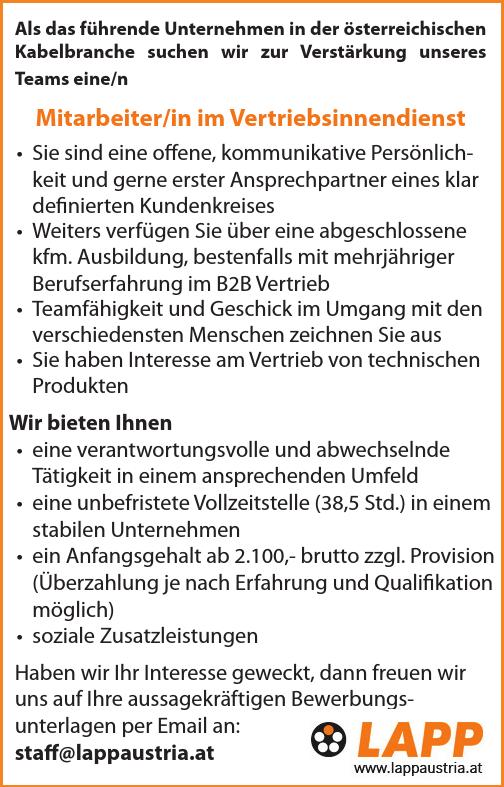 Als das führende Unternehmen in der österreichischen Kabelbranche suchen wir zur Verstärkung unseres Teams eine/n