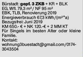 Bürstadt, 3 ZKB/EG+ Keller + 2 x Balkon
