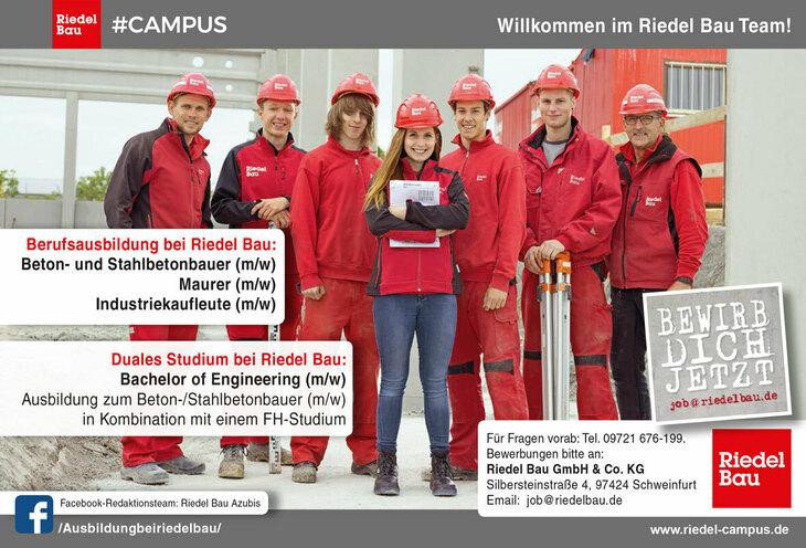 Den Bauprofis von morgen bietet Riedel Bau eine Berufsausbildung zum Beton- und Stahlbetonbauer oder Maurer (m/w) sowie ein duales FH-Studium zum Bachelor of Engineering (m/w).