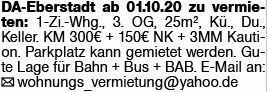 1-Zimmer Mietwohnung in Darmstadt (64297)