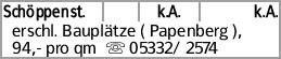 Schöppenst. k.A. k.A. erschl. Bauplätze ( Papenberg ), 94,- pro qm s...