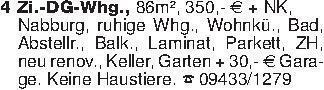 4 Zi.-DG-Whg., 86m², 350,- Eur...