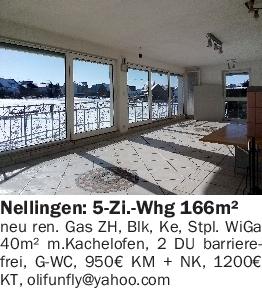 Vermietung 5-6 Zimmer-Wohnungen 166m² mit Wintergarten 89191 Nellingen